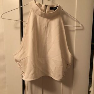 Forever 21 White Halter Top With Side Details
